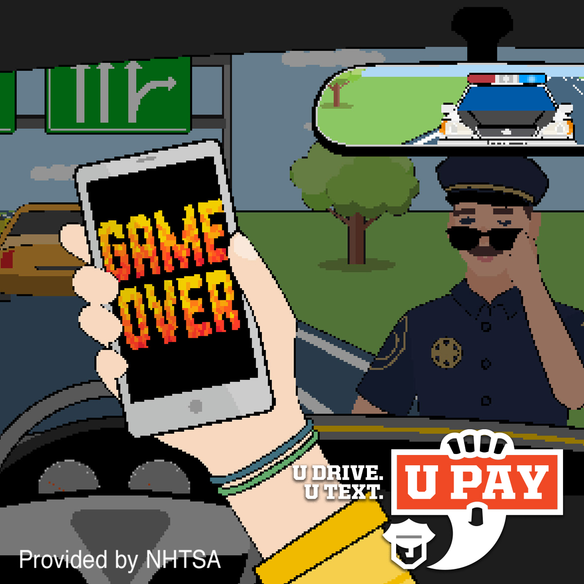 u drive u text ad of cop pulling over distracted driver